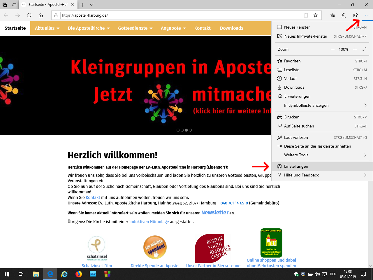 Einstellungen in Edge